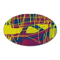 Yellow high art abstraction Oval Magnet