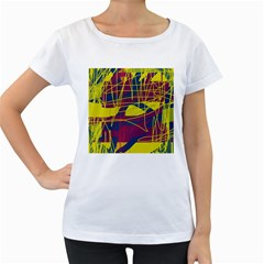 Yellow high art abstraction Women s Loose-Fit T-Shirt (White)