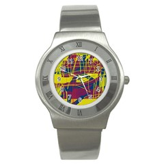 Yellow high art abstraction Stainless Steel Watch