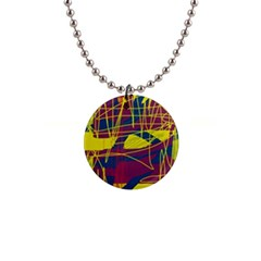 Yellow high art abstraction Button Necklaces