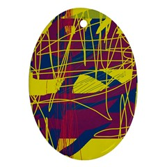 Yellow high art abstraction Oval Ornament (Two Sides)