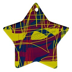 Yellow high art abstraction Star Ornament (Two Sides)