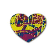 Yellow high art abstraction Heart Coaster (4 pack)