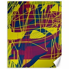 Yellow high art abstraction Canvas 11  x 14