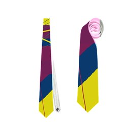 Yellow high art abstraction Neckties (One Side)