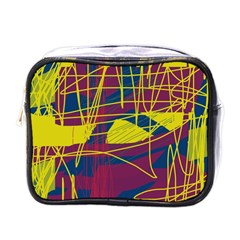 Yellow high art abstraction Mini Toiletries Bags