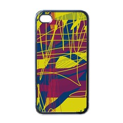 Yellow high art abstraction Apple iPhone 4 Case (Black)