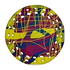 Yellow high art abstraction Ornament (Round Filigree)