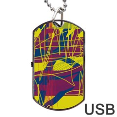 Yellow high art abstraction Dog Tag USB Flash (One Side)