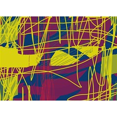 Yellow high art abstraction Birthday Cake 3D Greeting Card (7x5)