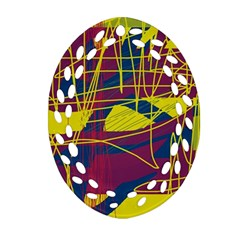 Yellow high art abstraction Oval Filigree Ornament (2-Side)