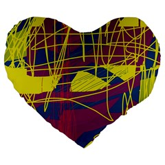 Yellow high art abstraction Large 19  Premium Heart Shape Cushions