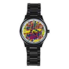 Yellow high art abstraction Stainless Steel Round Watch