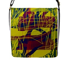 Yellow high art abstraction Flap Messenger Bag (L)