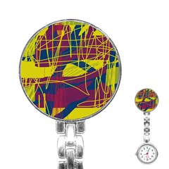 Yellow high art abstraction Stainless Steel Nurses Watch