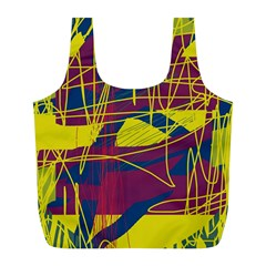 Yellow high art abstraction Full Print Recycle Bags (L)