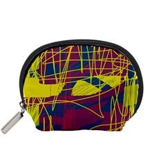 Yellow high art abstraction Accessory Pouches (Small)