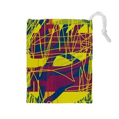 Yellow high art abstraction Drawstring Pouches (Large)