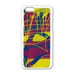 Yellow high art abstraction Apple iPhone 6/6S White Enamel Case