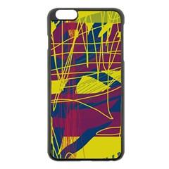 Yellow high art abstraction Apple iPhone 6 Plus/6S Plus Black Enamel Case