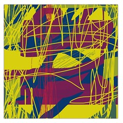 Yellow high art abstraction Large Satin Scarf (Square)