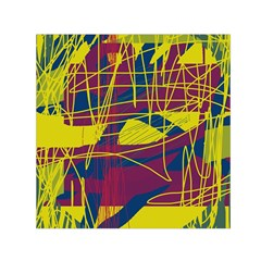 Yellow high art abstraction Small Satin Scarf (Square)