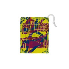 Yellow high art abstraction Drawstring Pouches (XS)