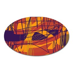 Orange high art Oval Magnet
