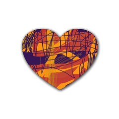 Orange high art Heart Coaster (4 pack)