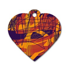 Orange high art Dog Tag Heart (Two Sides)