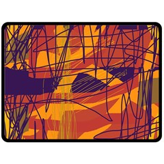 Orange high art Fleece Blanket (Large)