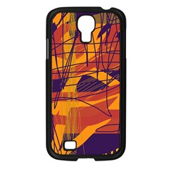 Orange high art Samsung Galaxy S4 I9500/ I9505 Case (Black)
