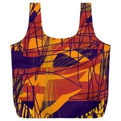 Orange high art Full Print Recycle Bags (L)