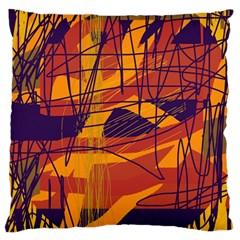 Orange high art Large Flano Cushion Case (Two Sides)