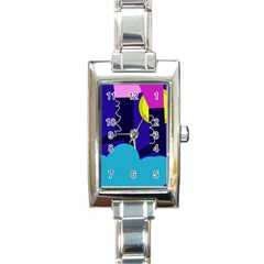 Walking on the clouds  Rectangle Italian Charm Watch