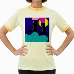 Walking on the clouds  Women s Fitted Ringer T-Shirts