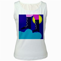Walking on the clouds  Women s White Tank Top