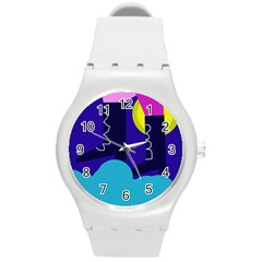 Walking on the clouds  Round Plastic Sport Watch (M)