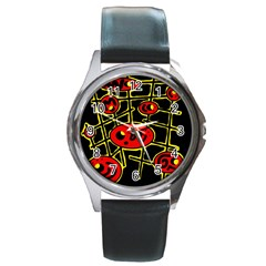 Red and yellow hot design Round Metal Watch