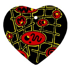 Red and yellow hot design Ornament (Heart)