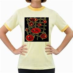 Red and yellow hot design Women s Fitted Ringer T-Shirts