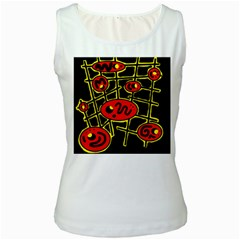 Red and yellow hot design Women s White Tank Top