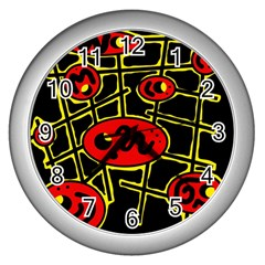 Red and yellow hot design Wall Clocks (Silver)
