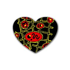 Red and yellow hot design Rubber Coaster (Heart)