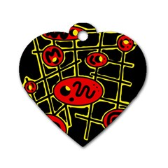 Red and yellow hot design Dog Tag Heart (One Side)