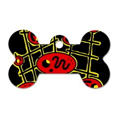 Red and yellow hot design Dog Tag Bone (Two Sides)