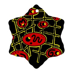Red and yellow hot design Snowflake Ornament (2-Side)
