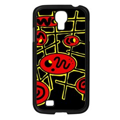 Red and yellow hot design Samsung Galaxy S4 I9500/ I9505 Case (Black)