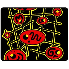 Red and yellow hot design Double Sided Fleece Blanket (Medium)