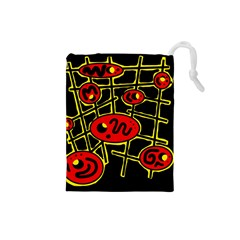 Red and yellow hot design Drawstring Pouches (Small)